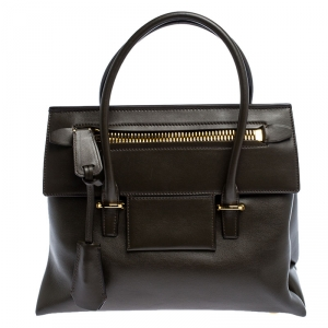 Tom Ford Dark Olive Green Leather TF Icon Satchel