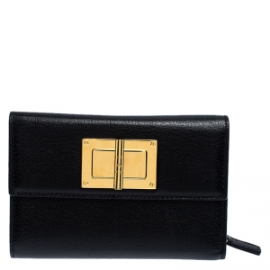 Tom Ford Black Leather Natalia French Wallet