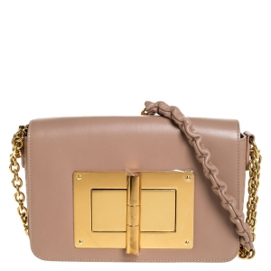 Tom Ford Nude Beige Leather Small Chain Natalia Shoulder Bag