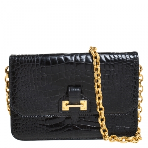 Tom Ford Black Crocodile Buckle Flap Chain Shoulder Bag