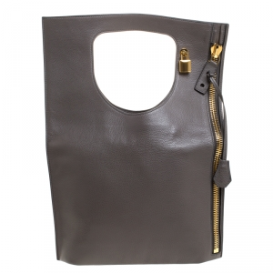 Tom Ford Grey Leather Large Fold Over Alix Bag