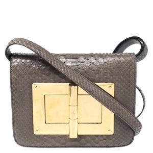 Tom Ford Khaki Python Small Natalia Crossbody Bag