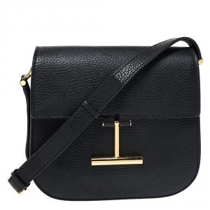 Tom Ford Black Leather Mini Tara Crossbody Bag