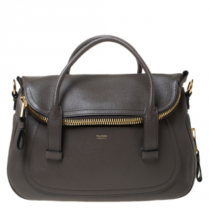 Tom Ford Taupe Leather Jennifer Warm Satchel