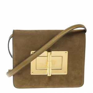 Tom Ford Olive Green Suede and Leather Large Natalia Shoulder Bag