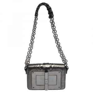 Tom Ford Metallic/Black Python and Leather Small Natalia Shoulder Bag