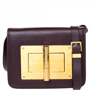 Tom Ford Burgundy Leather Small Natalia Crossbody Bag