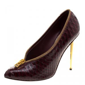 Tom Ford Burgundy Python Leather Zipper Detail Pumps Size 40.5