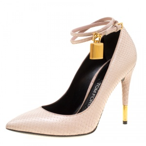 Tom Ford Beige Snakeskin Leather Ankle Lock Pointed Toe Pumps Size 38