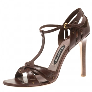 Tom Ford Brown Leather T-Strap Open Toe Sandals Size 40