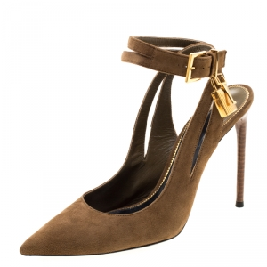Tom Ford Brown Suede Padlock Ankle Strap Sandals Size 38.5