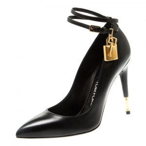 Tom Ford Black Leather Ankle Lock Pointed Toe Pumps Size 36.5