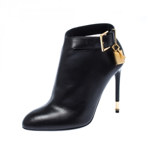 Tom Fod Black Leather Padlock Charm Pointed Toe Booties Size 35