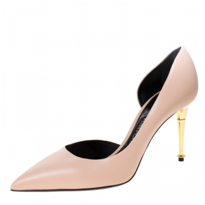 Tom Ford Nude Beige Leather Half  D'orsay Pumps Size 39.5