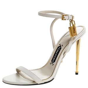 Tom Ford White Leather Gold Padlock Naked Sandal Size 38