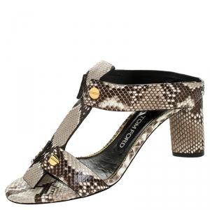 Tom Ford Multicolor Python Leather T-Strap Open Toe Slide Sandals Size 37.5