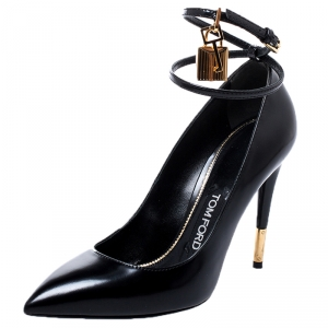 Tom Ford Black Patent Leather Padlock Ankle Wrap Pointed Toe Pumps Size 37.5