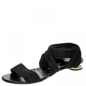 Tom Ford Black Plisse Satin Open Toe Flat Sandals Size 39