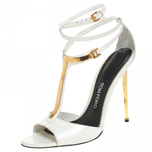Tom Ford White Leather T-Bar Ankle Strap Sandals Size 38.5