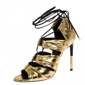 Tom Ford Metallic Gold Leather Stardust Lace Up Cage Sandals Size 37