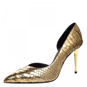 Tom Ford Gold Python Leather D'orsay Pointed Toe Pumps Size 37.5