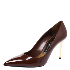 Tom Ford Pumpkin Brown Patent Leather Gold Pin Heels Pointed Pumps Size 41
