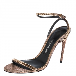 Tom Ford Metallic Rose Gold Python Leather Chain Embellished Ankle Strap Open Toe Sandals Size 39.5
