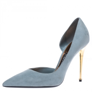 Tom Ford Grey Suede D'orsay Pointed Toe Pumps Size 39.5