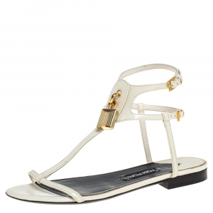 Tom Ford White Patent Leather T Strap Padlock Flat Sandals Size 37.5