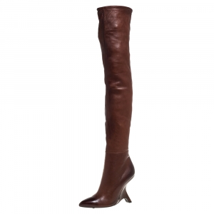 Tom Ford Dark Brown Leather Over the Knee Boots Size 40