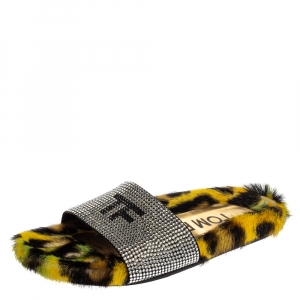 Tom Ford Yellow/Black Crystal Embellished And Leopard Print Fur Slides Size 35