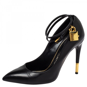 Tom Ford Black Leather Padlock Ankle Wrap Pointed Toe Pumps Size 37.5