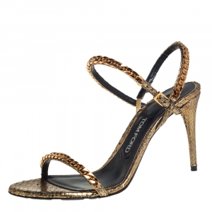 Tom Ford Metallic Gold Python Leather Chain Embellished Slingback Sandals Size 38.5 - used
