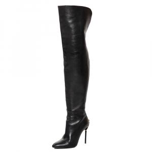 Tom Ford Black Leather Over the Knee Zipper Embellished Heel Boots Size 38