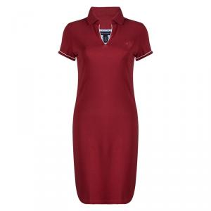 Tommy Hilfiger Red Cotton Polo T-Shirt Dress S