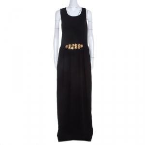 Tory Burch Black Embellished Crepe Criss Cross Back Sleeveless Gown M