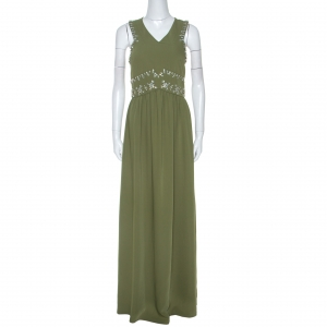 Tory Burch Green Crepe Embellished Luisa Sleeveless Gown M