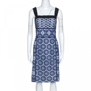Tory Burch Blue Guipure Lace Sleeveless Margaux Dresses L -