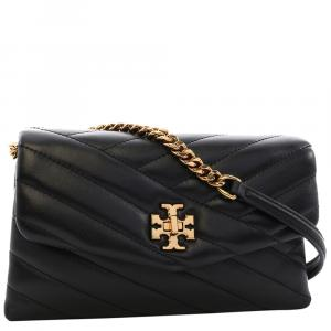 Tory Burch Black Leather Kira Chain Wallet