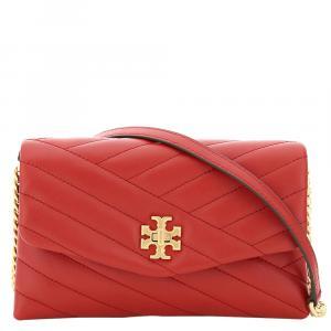 Tory Burch Red Leather Kira Chevron Small Bag