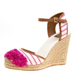 Tory Burch Beige/Pink Striped Canvas Shaw Espadrille Wedge Sandals Size 41 -