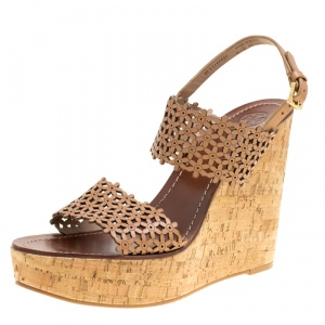 Tory Burch Beige Perforated Leather Daisy Cork Wedge Sandals Size 40.5 -