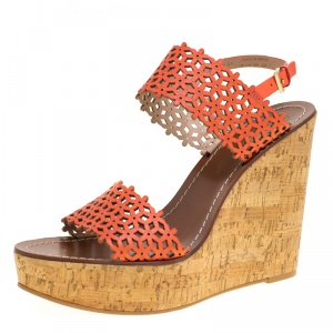 Tory Burch Coral Red Perforated Leather Daisy Cork Wedge Sandals Size 40.5 -