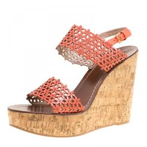 Tory Burch Coral Red Perforated Leather Daisy Cork Wedge Sandals Size 41 -