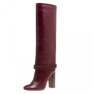 Tory Burch Burgundy Leather Sarava Braid Detail Knee Boots Size 37