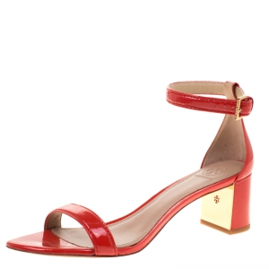 Tory Burch Red Patent Leather Cecile Block Heel Ankle Strap Sandals Size 39