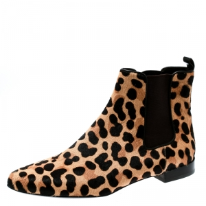 Tory Burch Brown Leopard Print Calf Hair Orsay Ankle Boots Size 37.5