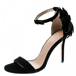 Tory Burch Black Suede Jules Floral Appliquè Ankle Strap Open Toe Sandals Size 37