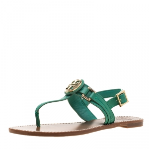 Tory Burch Green Leather Logo Detail Thong Backstrap Sandals Size 37.5