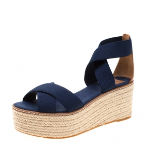 Tory Burch Royal Navy Stretch Fabric And Beige Leather Frieda Cross Strap Espadrille Platform Sandals Size 37.5